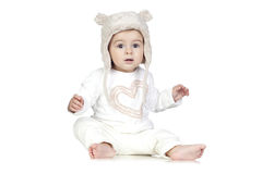 Funny Baby with a Winter Hat Stock Photography