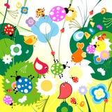 Funny background. Cute funny birds and ladybugs stock illustration