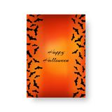 Funny background with bats for Halloween. Scary background of brochure with bats for festive decoration for Halloween on the orange backdrop. Vector illustration Royalty Free Stock Image