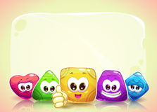 Funny background with cute shape characters royalty free illustration