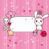 Funny background with kawaii doodle Royalty Free Stock Photos