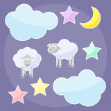 Funny background with moon, clouds, stars and sheep Stock Images