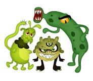 Funny bacteria. Three cartoon bacteria on a white background Stock Photography