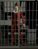 Funny Bad Clown Jail Illustration Royalty Free Stock Photo