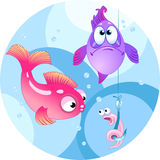 Funny bait for fishing. The illustration shows two colored fish. They are looking at a hook with a funny worm.Illustration done in cartoon style, on separate Stock Image