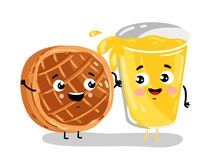 Funny baked pie and lemonade cartoon characters. Cute baked pie and lemonade cartoon characters isolated on white background  illustration. Funny fast food menu Royalty Free Stock Photography