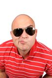Funny bald. Guy with sunglasses Royalty Free Stock Photos