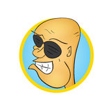 Funny bald cartoon character in sunglasses. Illustration stock illustration