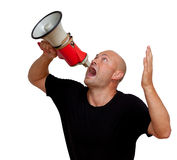 Funny bald man with megaphone. Isolated on white Stock Photography