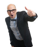 Funny bald man showing his thumb up Stock Photography