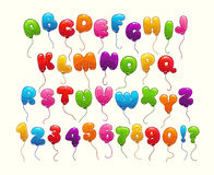 Funny balloon alphabet. Colorful cartoon letters and numbers Stock Photography