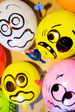 Funny balloon faces are scared Stock Photo