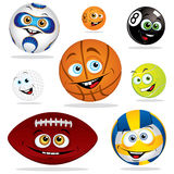 Funny balls. Funny illustration of balls for different sports Stock Photo