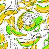 Funny Banana Fruit Seamless Pattern. Stock Photography