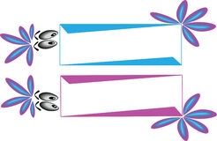 Funny banner. S with eyes and decoration in blue and purple Stock Photo