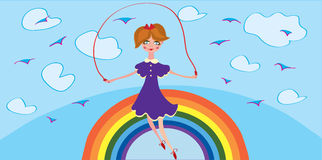 Funny banner with girl and rainbow Stock Images