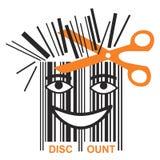 Funny BAR code discount. Scissors shortening bar code mascot, symbol price discounts. Vector available Royalty Free Stock Photo