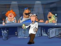 Funny bar Visitors and bemused bartender Royalty Free Stock Image
