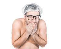 Funny bare man Stock Images