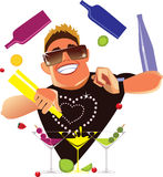 Funny barman juggling on cocktail party mix alcohol drinks, barman in work. Vector illustration of barman in work Stock Photo