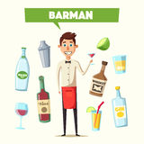 Funny bartender, cute character. Vector cartoon illustration Royalty Free Stock Photos