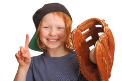 Funny baseball girl Stock Photos