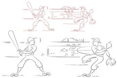 Funny baseball. Sketch style. Flat line Royalty Free Stock Image