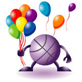 Funny basketball with baloons Royalty Free Stock Image