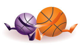 Funny basketballs in love Royalty Free Stock Photography