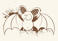 Funny Bat. Illustration of a strange looking funny bat in brown color Stock Photography