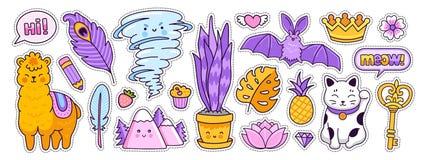 Free Funny Bat, Alpaca, Tornado, Maneki-neko, Golden Crown And Key. Doodle Cartoon Style. Royalty Free Stock Photos - 178355068