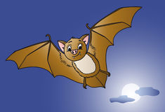 Funny bat flying at full moon Halloween night Royalty Free Stock Images