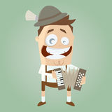 Funny bavarian accordion player Royalty Free Stock Photography