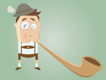 Funny bavarian man with traditional alphorn Stock Image