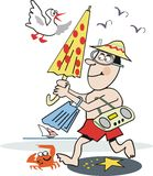 Funny beach cartoon. Cartoon of man at beach with snorkel gear, umbrella and radio Royalty Free Stock Image