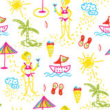 Funny beach seamless pattern hand drawn design Royalty Free Stock Image