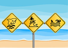 Funny beach signs Royalty Free Stock Images
