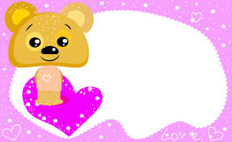 Funny bear. In love. Funny bear. Beautiful card. Little toy Royalty Free Stock Image