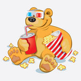 Funny Bear. At the cinema Stock Photography