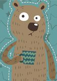 Funny Bear Art Pastel stock illustration