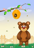 Funny bear with bees. Illustration of bears play with bees royalty free illustration