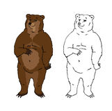 Funny bear. In  both colored and contour Royalty Free Stock Photography