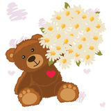 Funny bear with a bouquet Stock Image