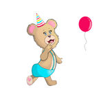 Funny bear cartoon with ballon EPS10 royalty free stock photography