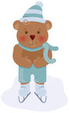 Funny bear cub skating Royalty Free Stock Images