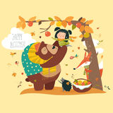 Funny bear with cute girl harvesting apples Stock Image