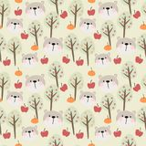 Funny bear face in the forest seamless pattern vector. Lovely animal and forest concept Royalty Free Stock Images