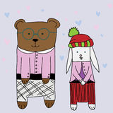 Funny bear with friend Royalty Free Stock Photography