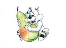 Funny bear with fruits Royalty Free Stock Image