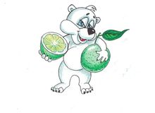 Funny bear with fruits. Funny image bears, eat a variety of fruits Royalty Free Stock Photo